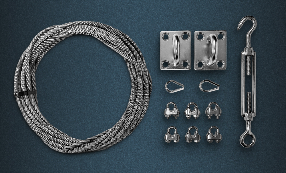 Catenary Kit Contence - Wire Rope Coil, Thimbles, Wire Rope Grips, Hook/Eye Tensioner, Wall Plates