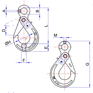 Eye Self Locking Hooks Large Diagram