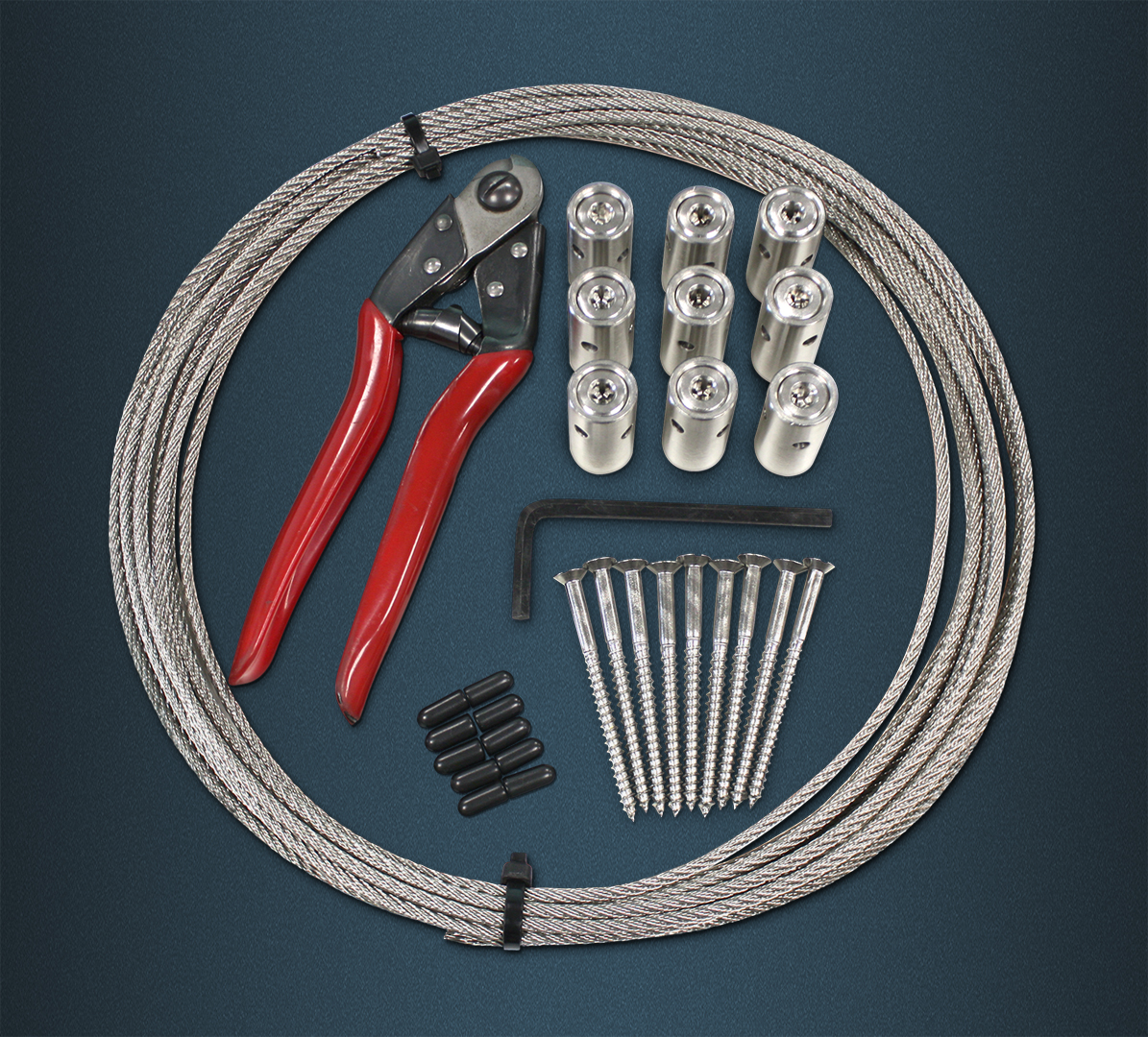 Wire Rope Green Wall Kit Contence - Length of Wire Rope, Hubs, Wood Screws, rubber end caps, hex key, wire rope cutters