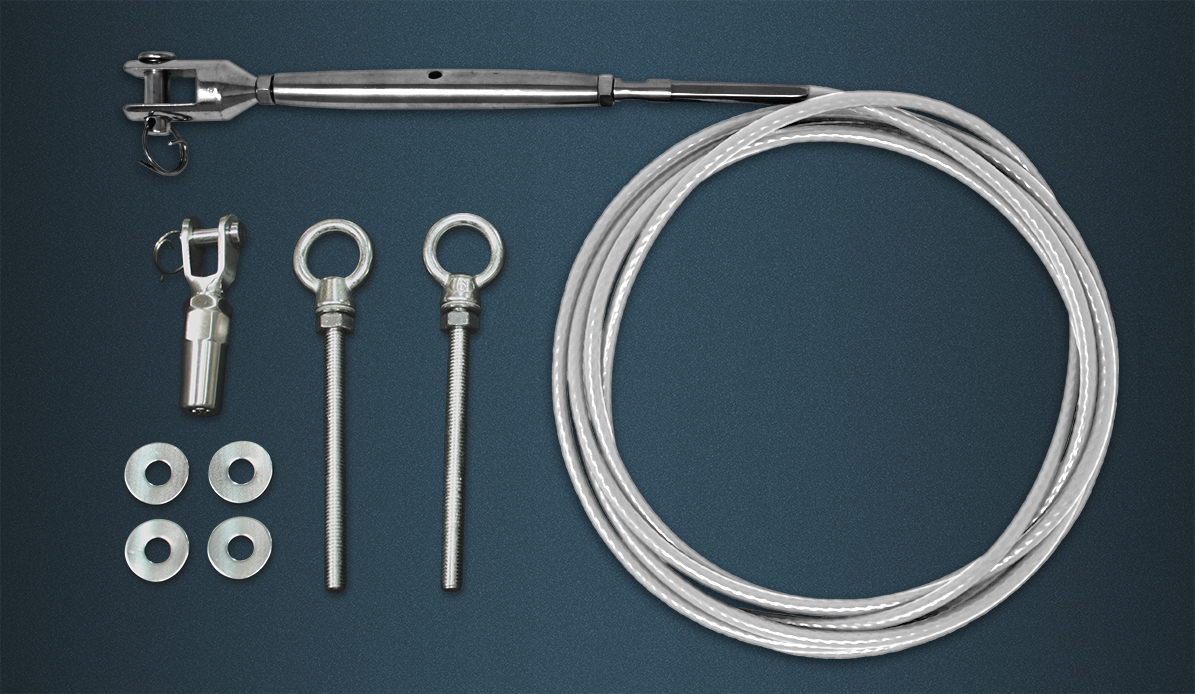 Wire Rope Tention Kit Contence - Length of White Coated Wire Rope, Pre-swaged Rigging Screw, Self Fit Fork, Two Eyebolts
