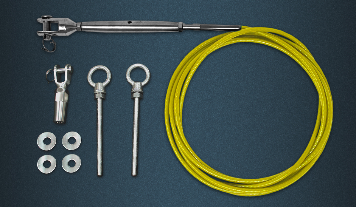 Wire Rope Tention Kit Contence - Length of Yellow Coated Wire Rope, Pre-swaged Rigging Screw, Self Fit Fork, Two Eyebolts