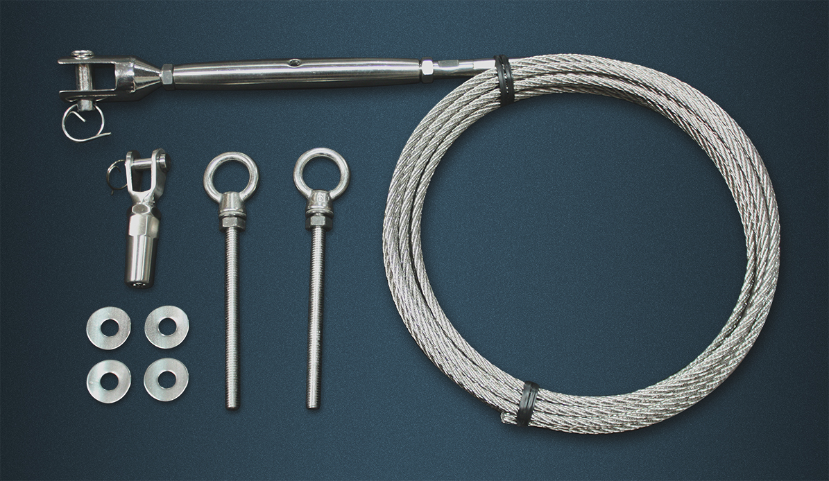 Wire Rope Tention Kit Contence - Length of Wire Rope, Pre-swaged Rigging Screw, Self Fit Fork, Two Eyebolts