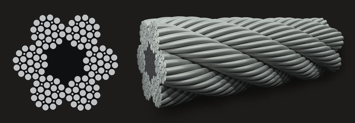 6x19 (12/6+6F/1) Filler - Fibre Core Wire Rope