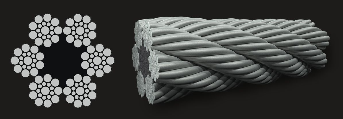 6x19 (9/9/1) Seale - Fibre Core Wire Rope