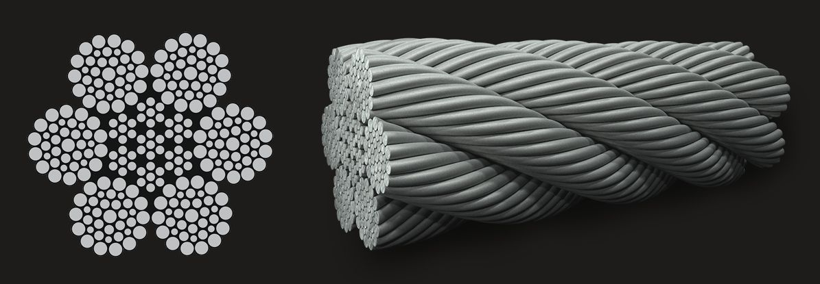 6x36 (14/7+7/7/1) - IWRC Wire Rope