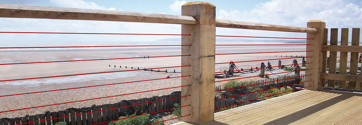 Coated Wire Rope Tention Kit fited to wood posts on sea front
