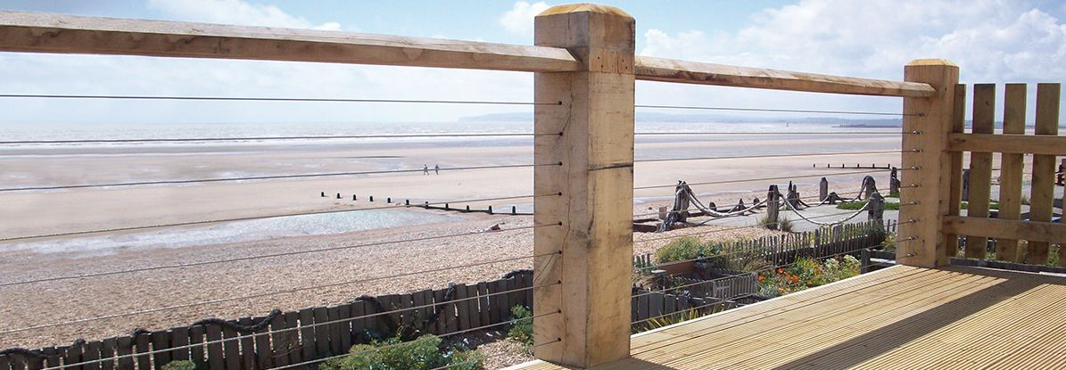 Wire Rope Tention Kit fited to wood posts on sea front