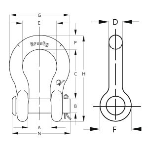 Round Pin Anchor Shackle - Diagram