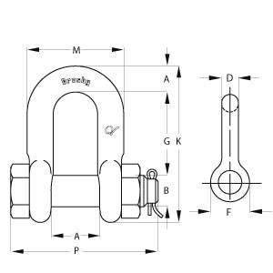 Bolt Type Chain Shackles - Diagram