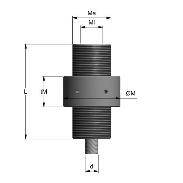 Fatzer Cylindrical Spelter Socket with Thread Diagram