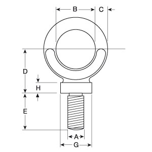 Dynamo Eyebolts With Whitworth Thread - Diagram