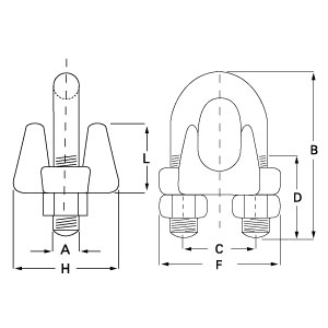 DIN-741 Galvanised Wire Rope Grips (without grooves) diagram