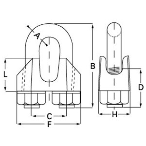 DIN-1142 Galvanised Wire Rope Grip diagram