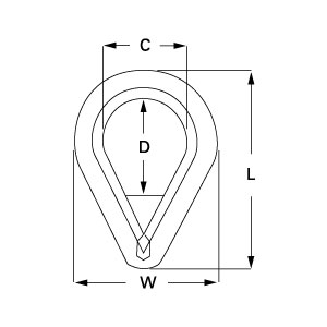 Galvanised Forged Steel Pennant Line Thimbles diagram