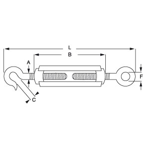 Hook and Eye - Untested Turnbuckle - Diagram
