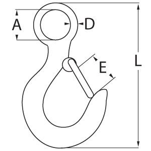 Large Eye Hook with Latch Diagram