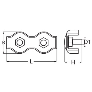Stainless Steel Duplex Wire Rope Clip - Diagram