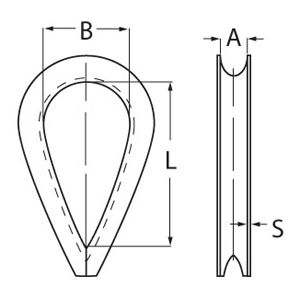 Stainless Steel Wire Rope Thimble - Diagram