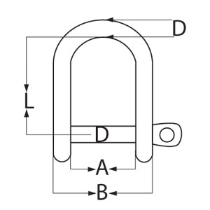 Stainless Steel D Shackle - Diagram