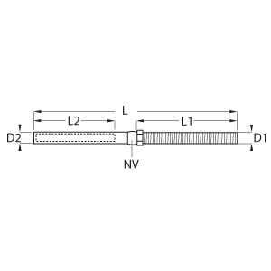 Swage Stud Terminal with Nut